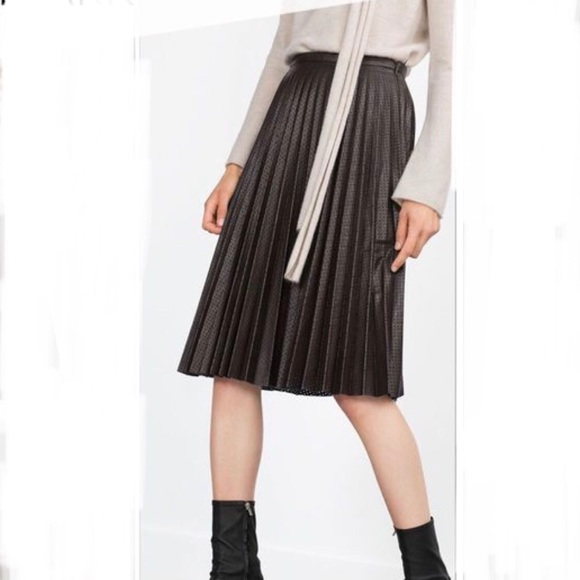 9cd9ea537c12 Zara Skirts | Pleated Perforated Faux Leather Skirt Sz M | Poshmark